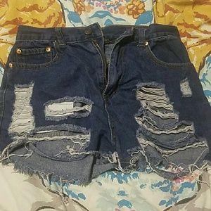 High Waisted Dark Jean Ripped Shorts